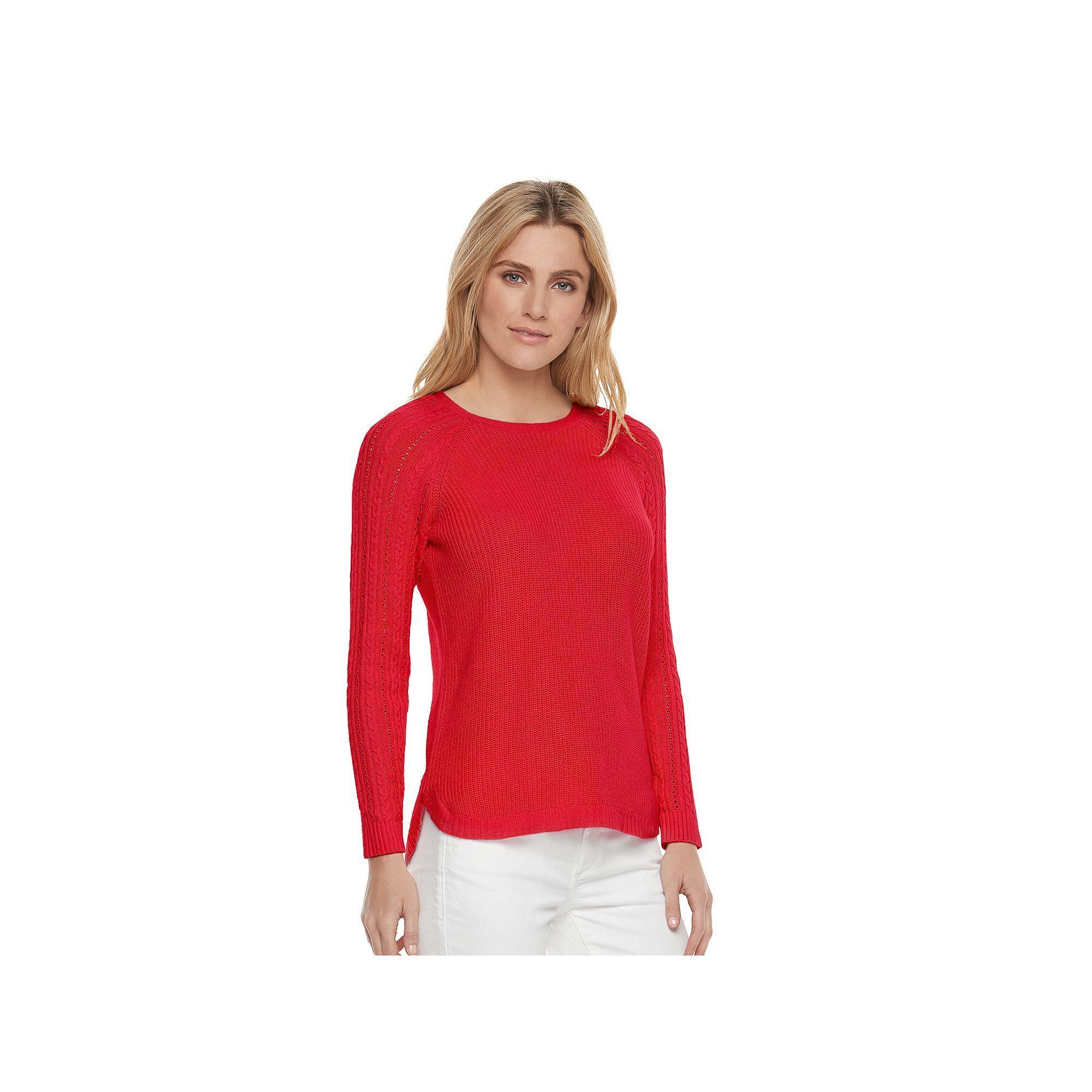 "006eedf29e3f3 Women s SONOMA Goods for Lifeâ""¢ Pointelle Crewneck Sweater"