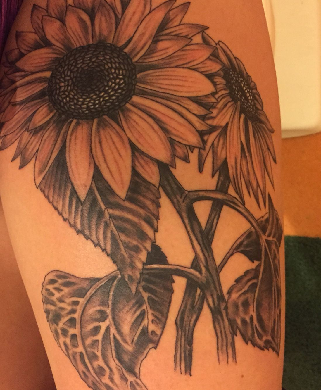 Sunflower Tattoo On Thigh for kids