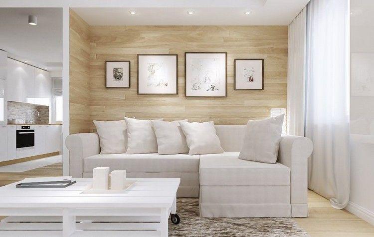 pared de madera y cuadros decorativos en el saln moderno - Decorar Paredes Con Madera