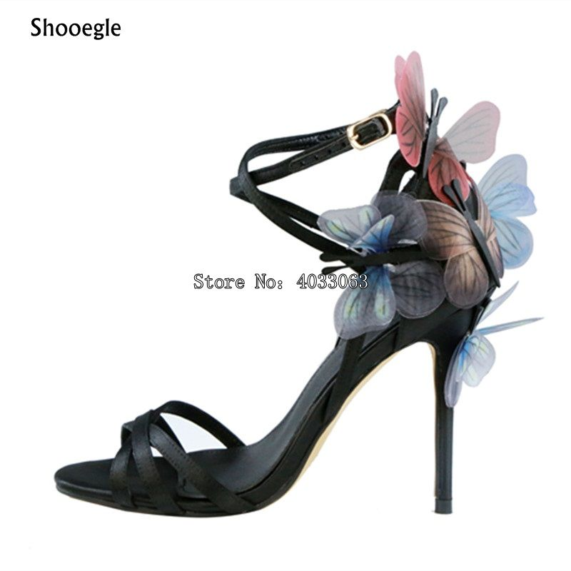 SHOOEGLE 2018 New fashion designer shoes exquisite butterfly embellished  thin high heels sandals sexy peep toe cross tied pumps -in Women s Pumps from  Shoes ... dca2c341a875