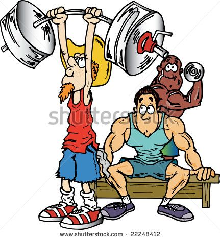 Funny Cartoon Man Lifting Weights - You Are So Close - Tighten Up ...