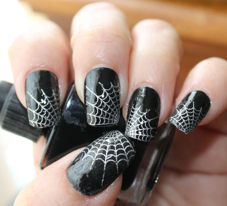 Spider Web Nail Decals 29 Silver Web Tips Nail Art Spider Web Nails Waterslide Transfers For Dark Or Black Nail Polish Halloween Nail Designs Funky Nail Art Nail Art Hacks