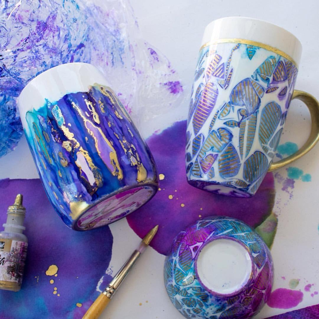 Loving these alcohol ink coloured ceramics I finished up yesterday using @jacquardproducts