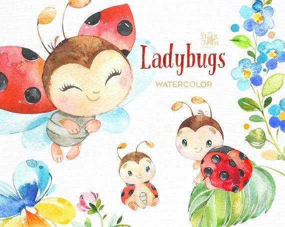 Photo of Coccinelle. Clipart dell'acquerello di piccoli animali, fiori, foglie, rosso, arte della scuola materna, baby-doccia, fiori, margherita, saluto, bambini, insetti, carino, fai da te