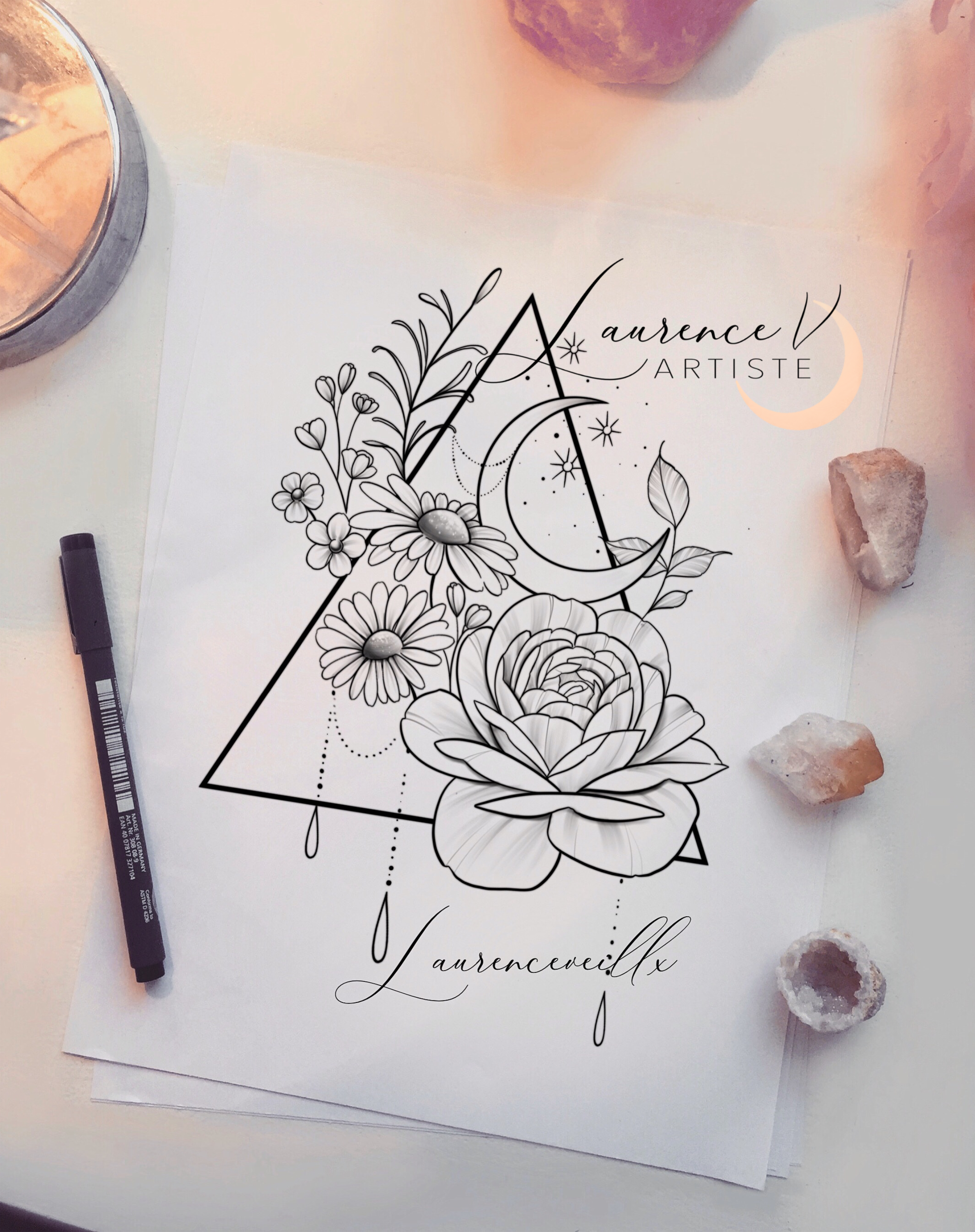 Photo of Peony Triangle Moon Daisyflower Tattoo Design @laurenceveillx