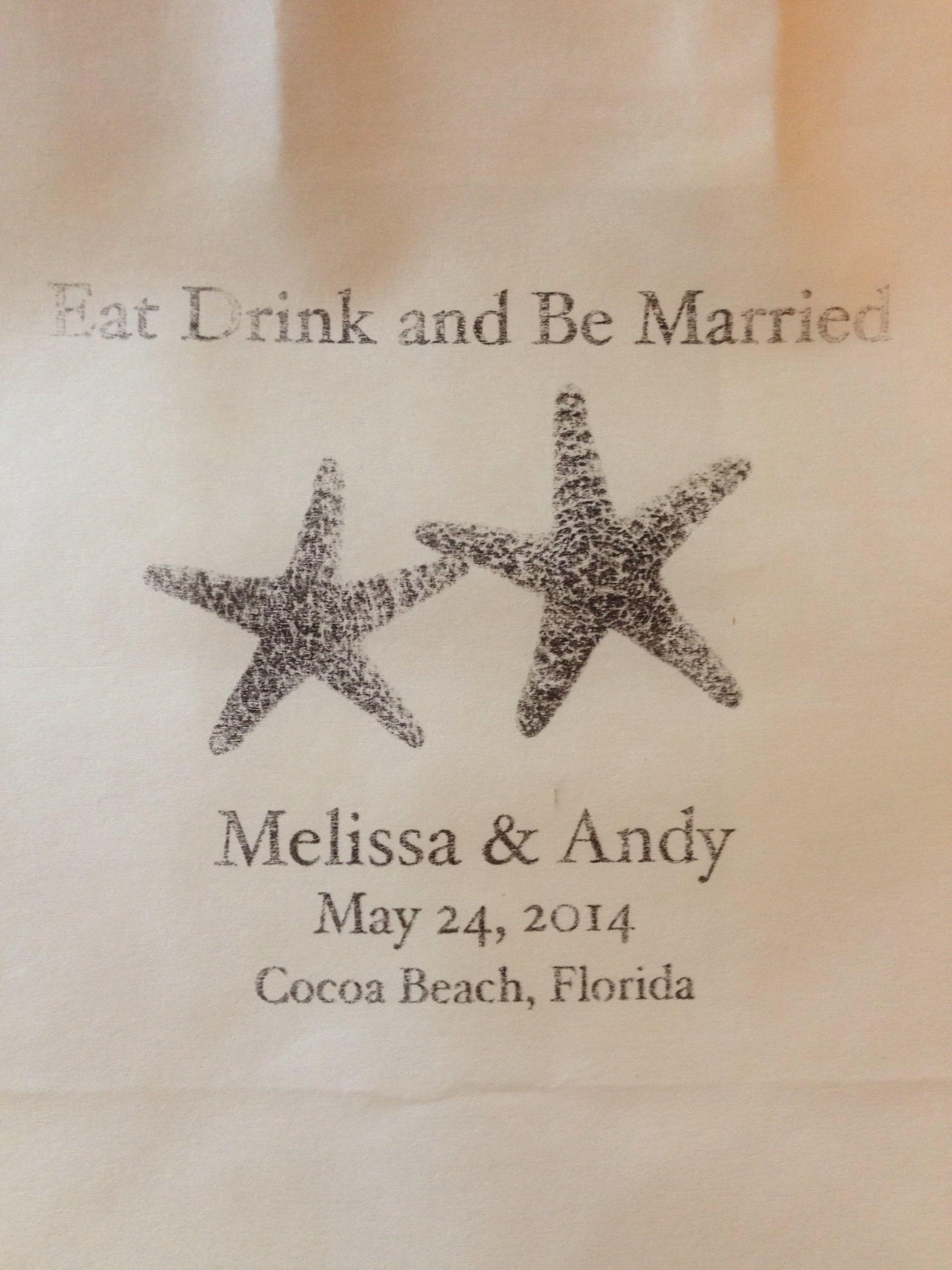 Contact me for your custom Wedding or Event bag request www.etsy.com/shop/wright4design #beachwedding #floridawedding #starfish #starfishwedding #paperbag #wedding #weddingbag #welcomebag #weddingfavor #weddingplanner #weddingphotographer #donotdisturb #etsy #diywedding #diyproject #diy #weddinggift #destinationwedding #hotelmotelholidayinn #pinterestwedding #etsywedding #pinterestwedding