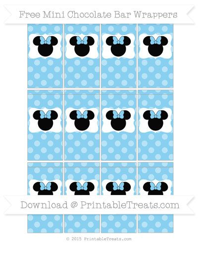Free Baby Blue Dotted Pattern  Minnie Mouse Mini Chocolate Bar Wrappers