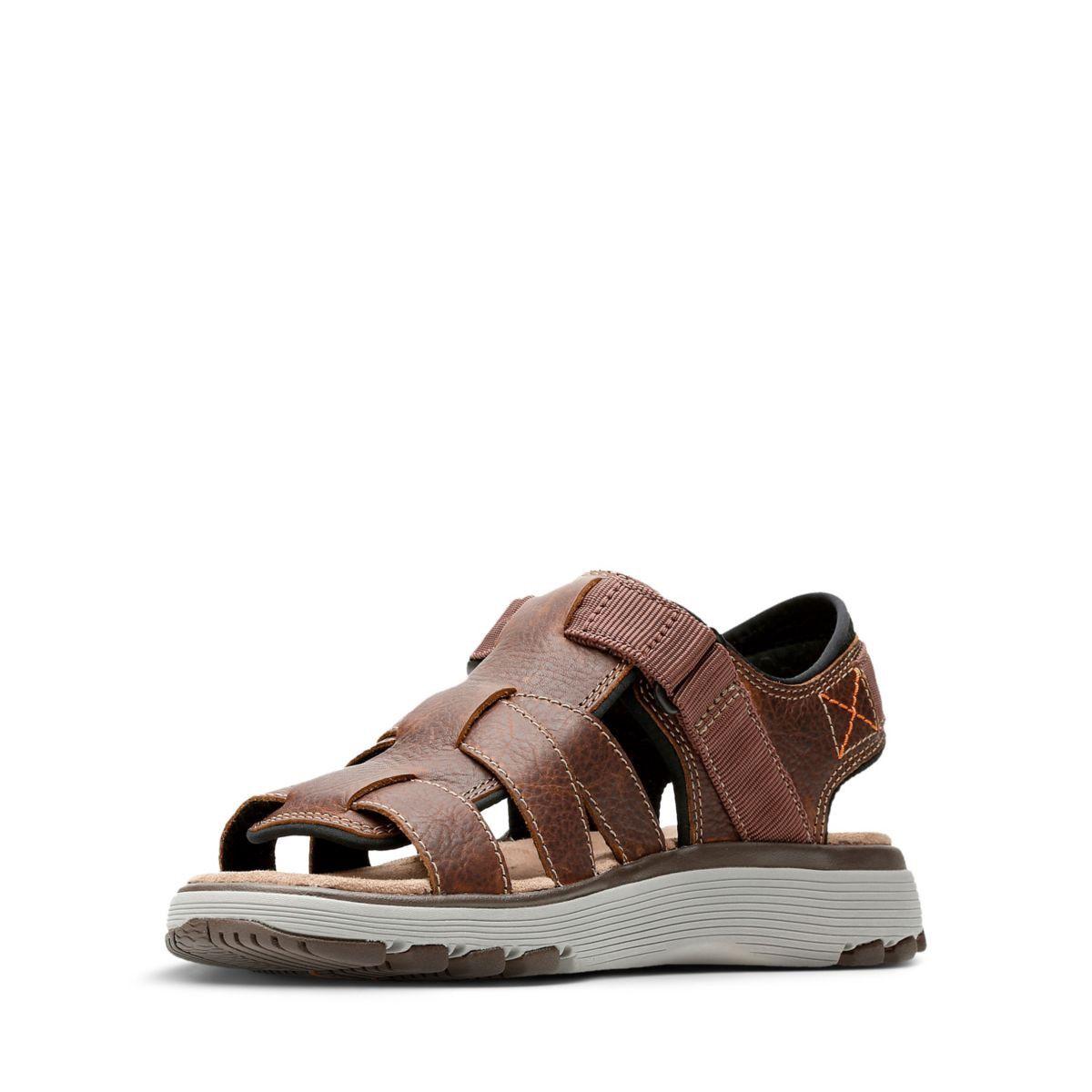 082287ffc Clarks Un Trek Cove - Mens Sport Sandals Dark Tan Leather 10.5 ...