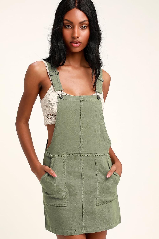 Abigail Sage Green Denim Overall Dress Overall Dress Denim Overall Dress Fashion [ 1500 x 1000 Pixel ]