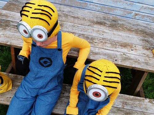 overalls t shirt knit hat super adorable minion kids halloween costume - Quick And Easy Homemade Halloween Costumes For Kids