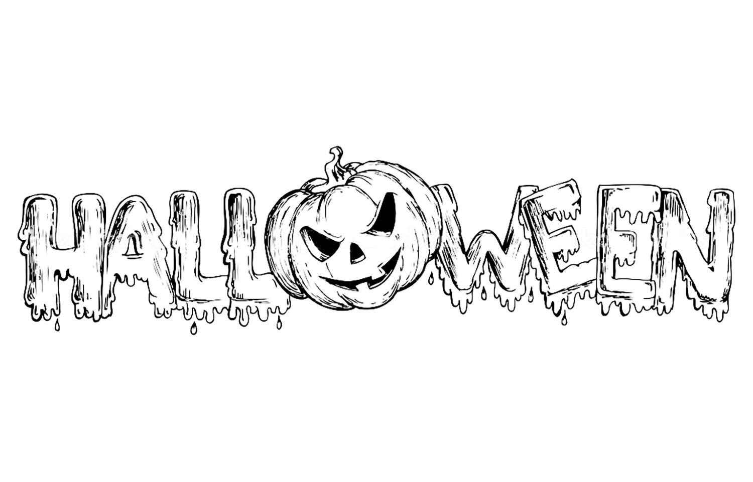 Halloween text to print & color with a pumpkin replacing the \'O ...