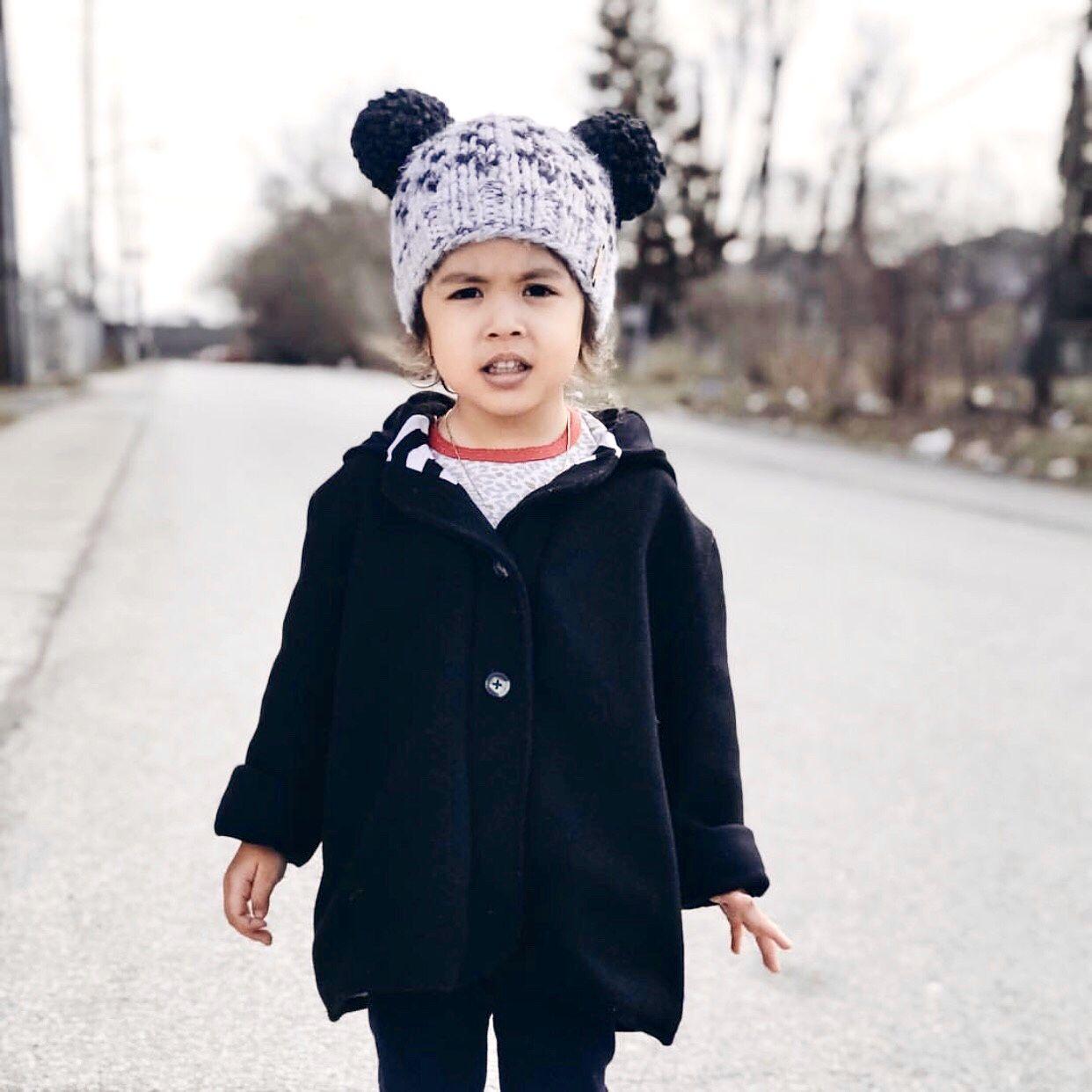 15660c0e7 Nickichicki Double pom pom Beanie hat. Toddler girl style. Winter ...