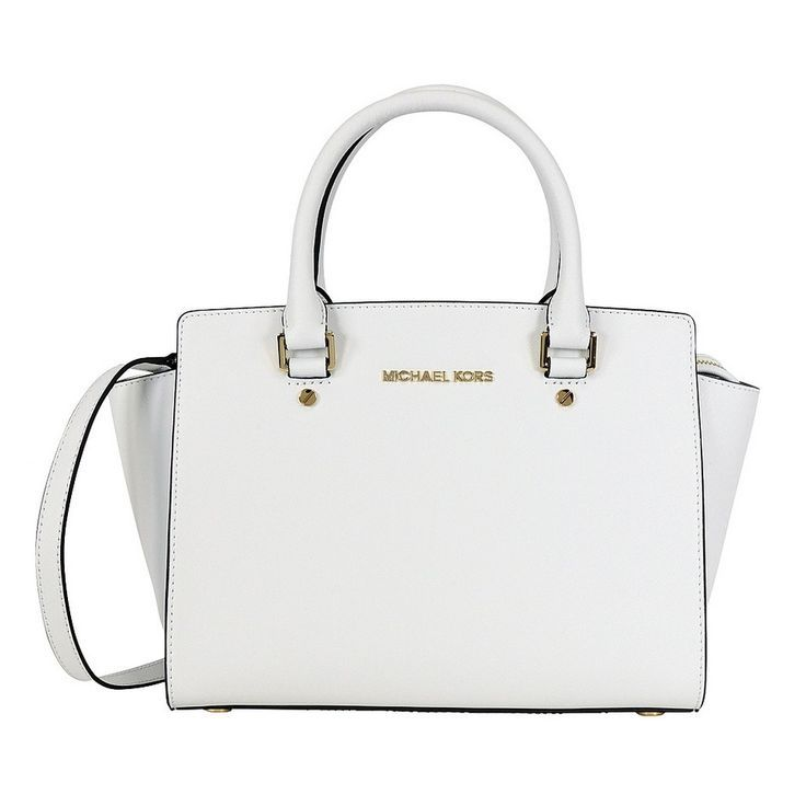 Michael Kors Selma Medium Optic White Satchel Handbag by