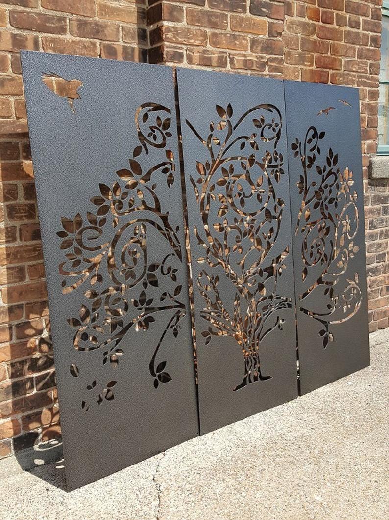 Wispy Tree Metal Privacy Screen Decorative Panel Outdoor  Etsy
