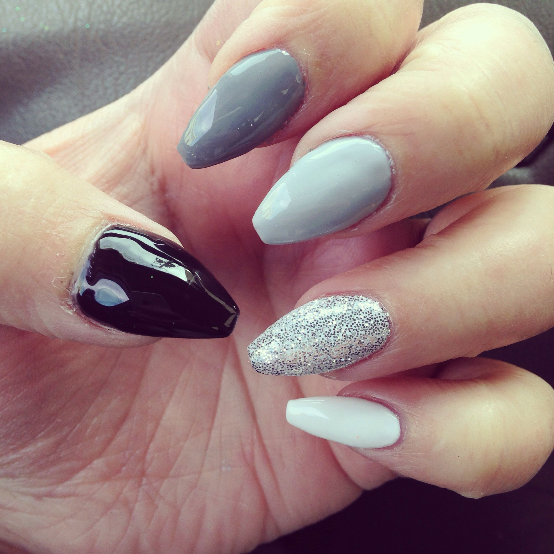 Gradient grey gel nails, glitter nail, coffin nails | Nails by ...