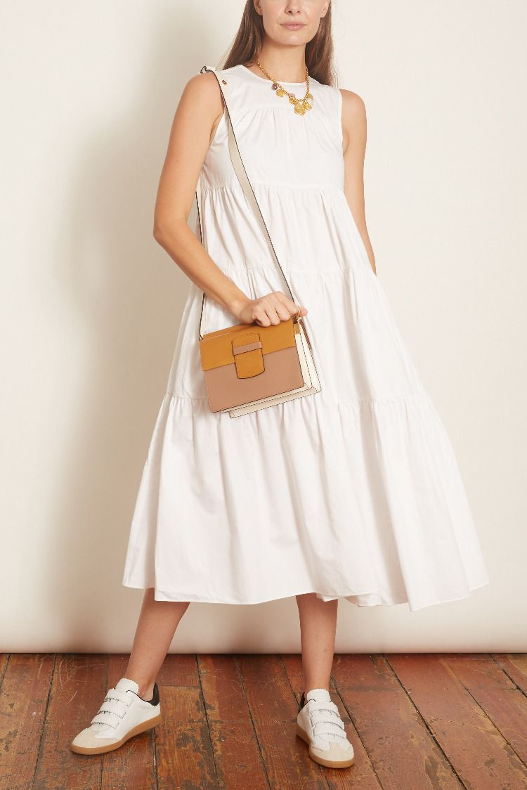 Sleeveless Tiered Midi Dress In White Tiered Midi Dress Midi Dress Sleeveless [ 1124 x 750 Pixel ]