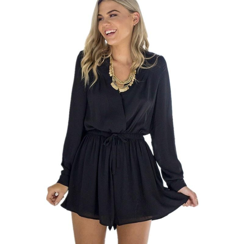 26ab81031d2a Women Summer Casual Short V Neck Long Sleeve Back Hollow Out Black Rompers  Jumpsuit Combination