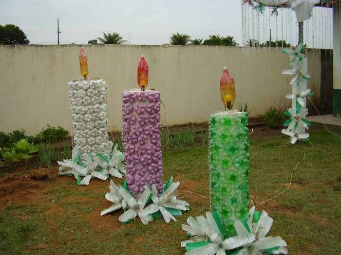 Como hacer adornos de navidad con botellas bellas y - Botellas con velas ...