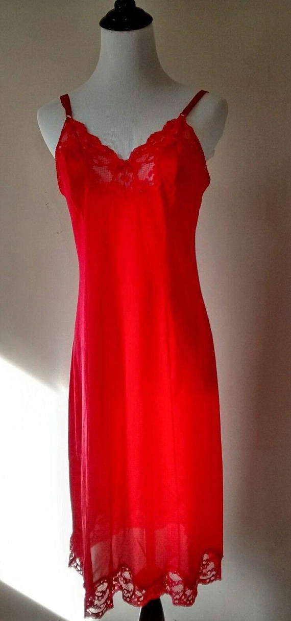 f1745b5793cf3 Vintage Antron III Nylon Red Full Womens Slip, Lace Trim, Bust Size 34,  Lingerie, JCPenney, Union Ma