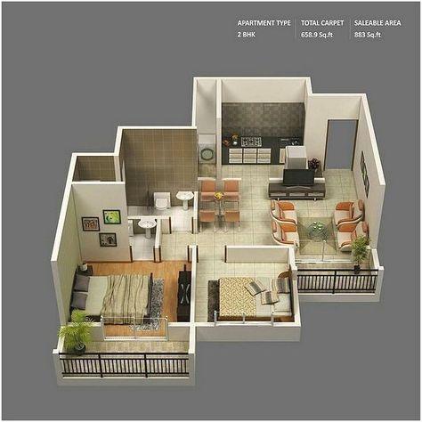 denah rumah minimalis 2 kamar tidur 3d (with images)   3d
