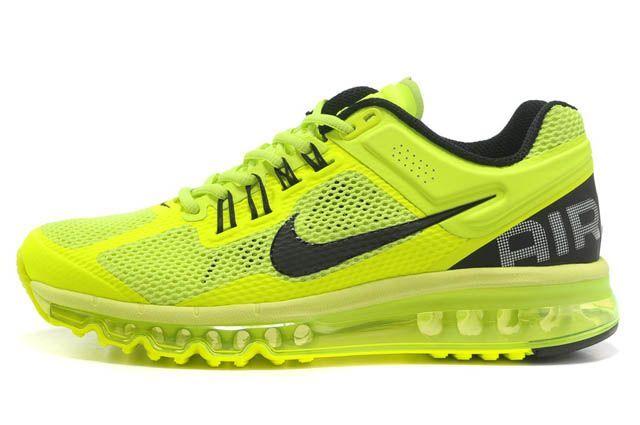 Nike Air Max 2013 Womens Running Shoes Black Volt Green