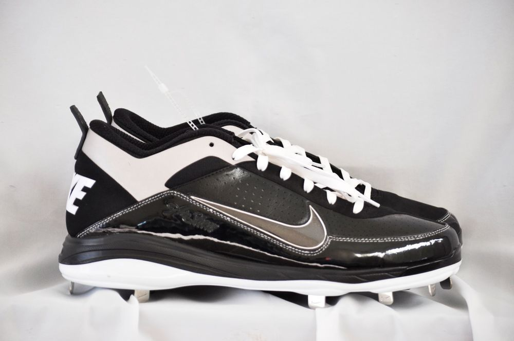 nike air  show 3/4 baseball cleat shoes sneakers black white