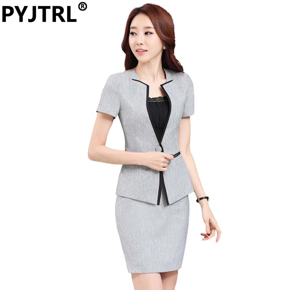 d08b50507 (Jacket+Skirt) Women's Summer Gray Short Sleeve Hotel Reception Office  Uniform Style Female Business Elegant Skirt Suits //Price: $55 & FREE  Shipping ...