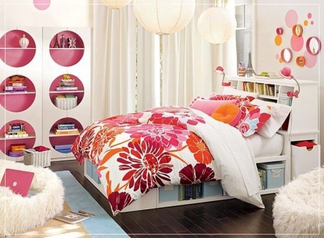 teenager zimmer deko mädchen rosa orange blumen kissen | Haus & Hof ...
