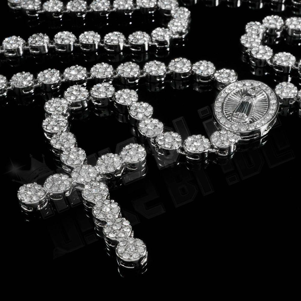 K white gold cz iced out rosary flower silver cross pendant men