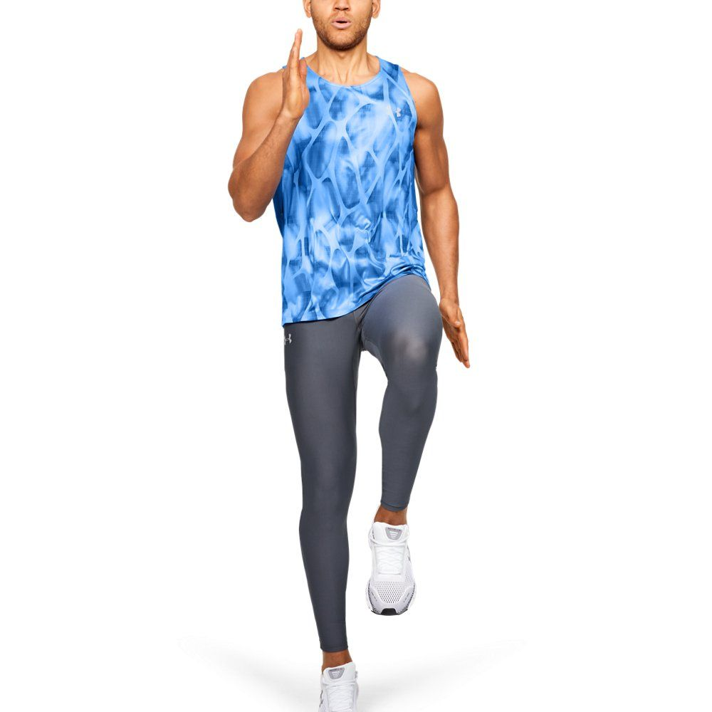 Photo of Under Armour Mens Qualifier Iso-Chill Printed Singlet – Blue MD