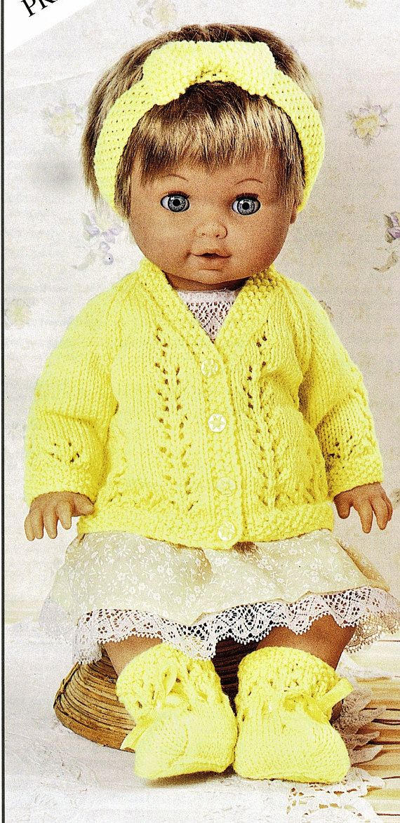 Knitted Dolls Clothes Pattern. Dolls Cardigans and Matinee Set ...