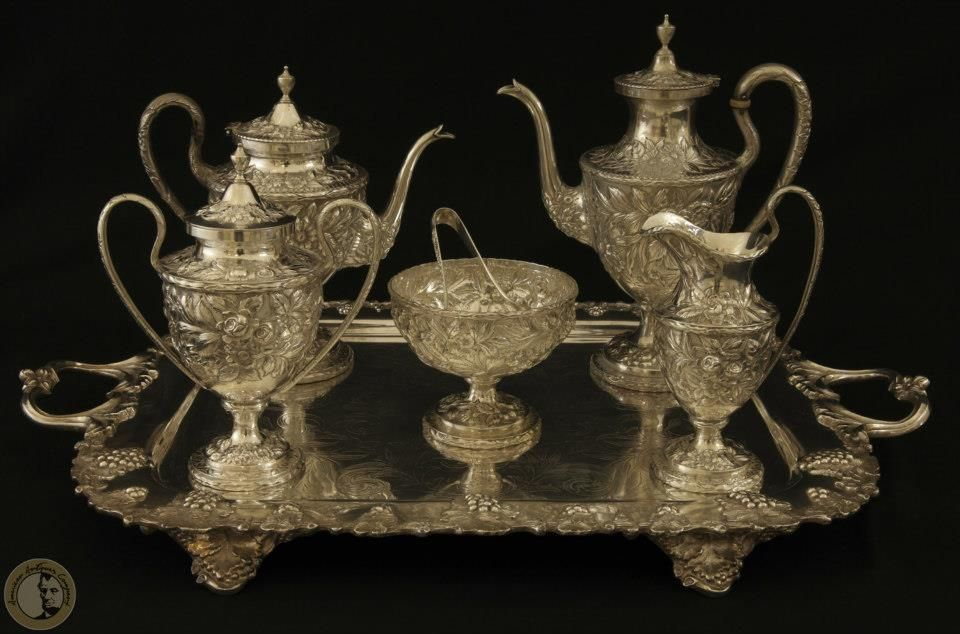 Kirk and Son Sterling Silver Tea Set. Unusual Repose Pattern. 5 piece set with Sweet Meat Bowl and Tongs. Highly prized in the antique and collectable world.