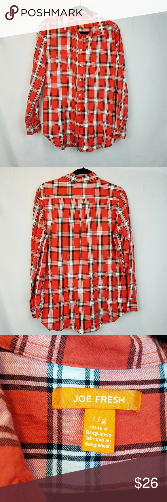 b0f4199cf Joe Fresh Plaid Button Down Shirt Womens Red Large Joe Fresh Plaid button  down shirt is a must for fall! Pair with your favorite jeans and head to  the apple ...