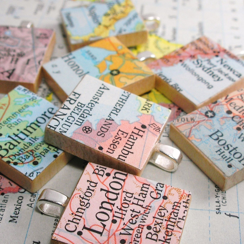 SALE Map Scrabble Tile Pendant. Vintage. You Select the
