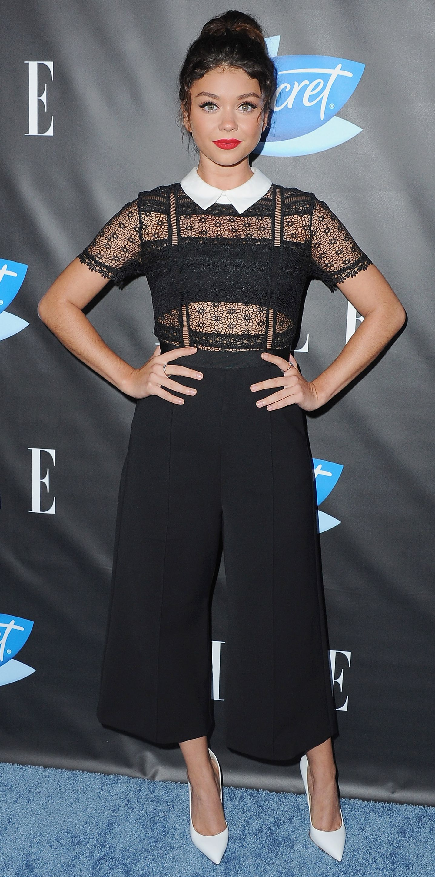 d2ef6ede951 Sarah Hyland in a sleek jumpsuit that featured a sheer black lace bodice