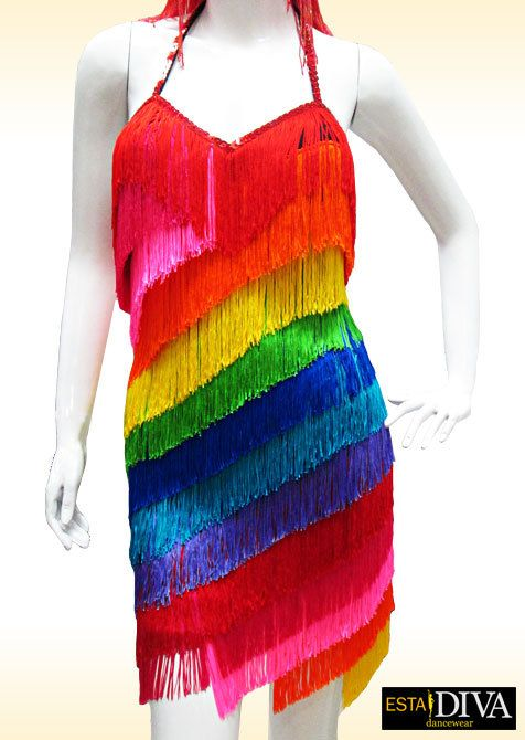 Fringe Dress  Rainbow  Fringe dress Latin fringe dress