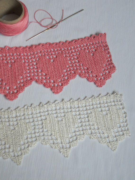 Crochet white lace, hand crochet hearts edge trim, wedding decor ...