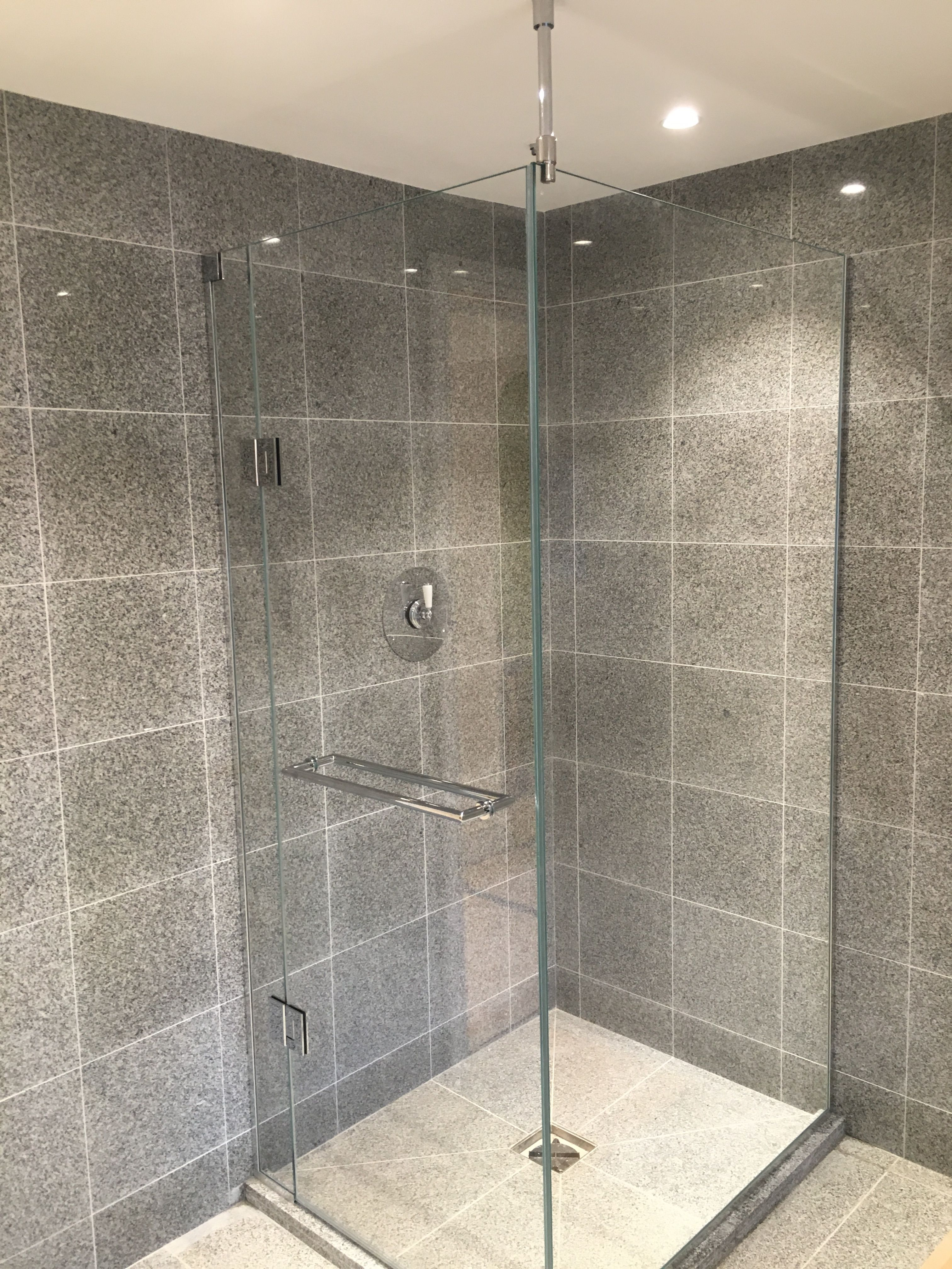 Frameless 2 sided shower enclosure in low iron glass with anti ...