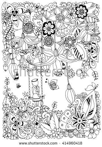 Vector Illustration Zen Tangle Girl On A Swing In The Flowers Doodle Garden Forest Thumbelina Coloring Book Anti Stress For Adults Black And White