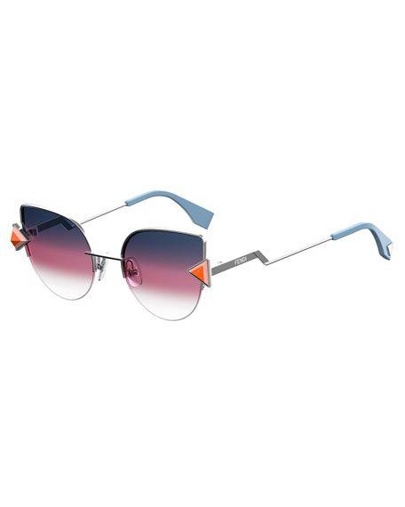 6bc290d44c74 FENDI Rainbow Metal Cat-Eye Sunglasses.  fendi