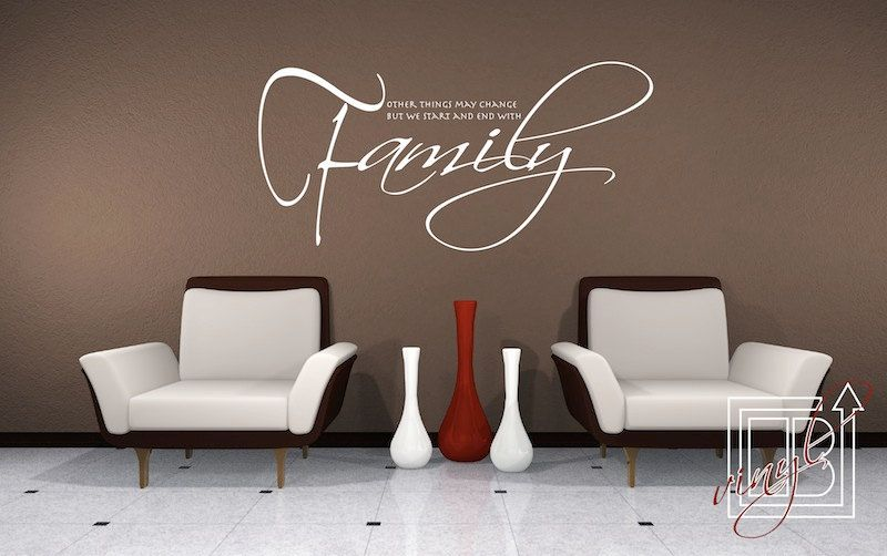 Wall Decal Quote Start and End With Family - Wall Sticker - Vinyl Decal.  $40.00