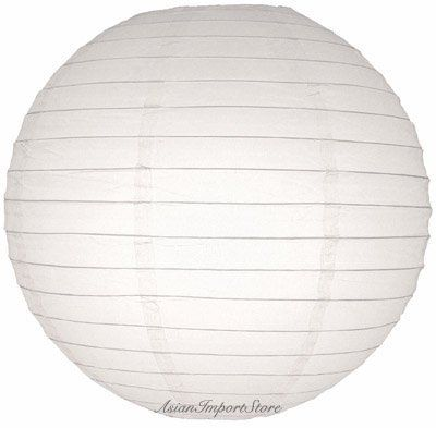 """12"""" White Even Ribbing Round Paper Lantern by Asian Import Store, Inc.. $2.39. Round paper lanterns with a even wire ribbing. Lantern is held open with a wire expander. Dimensions: 12"""" diameter (All lanterns sold without cord, cord must be purchased separately)"""