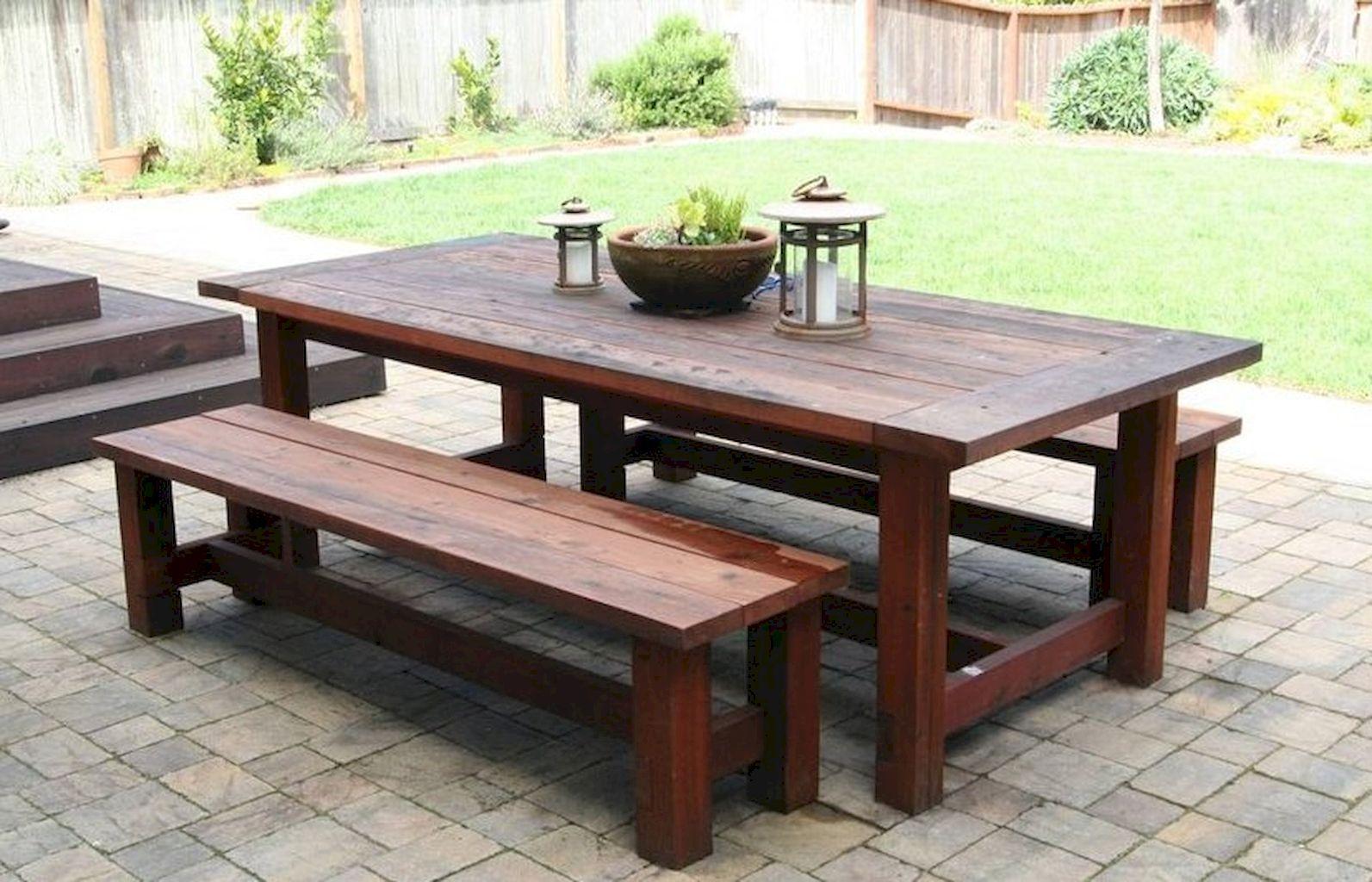 farmhouse patio table with bench