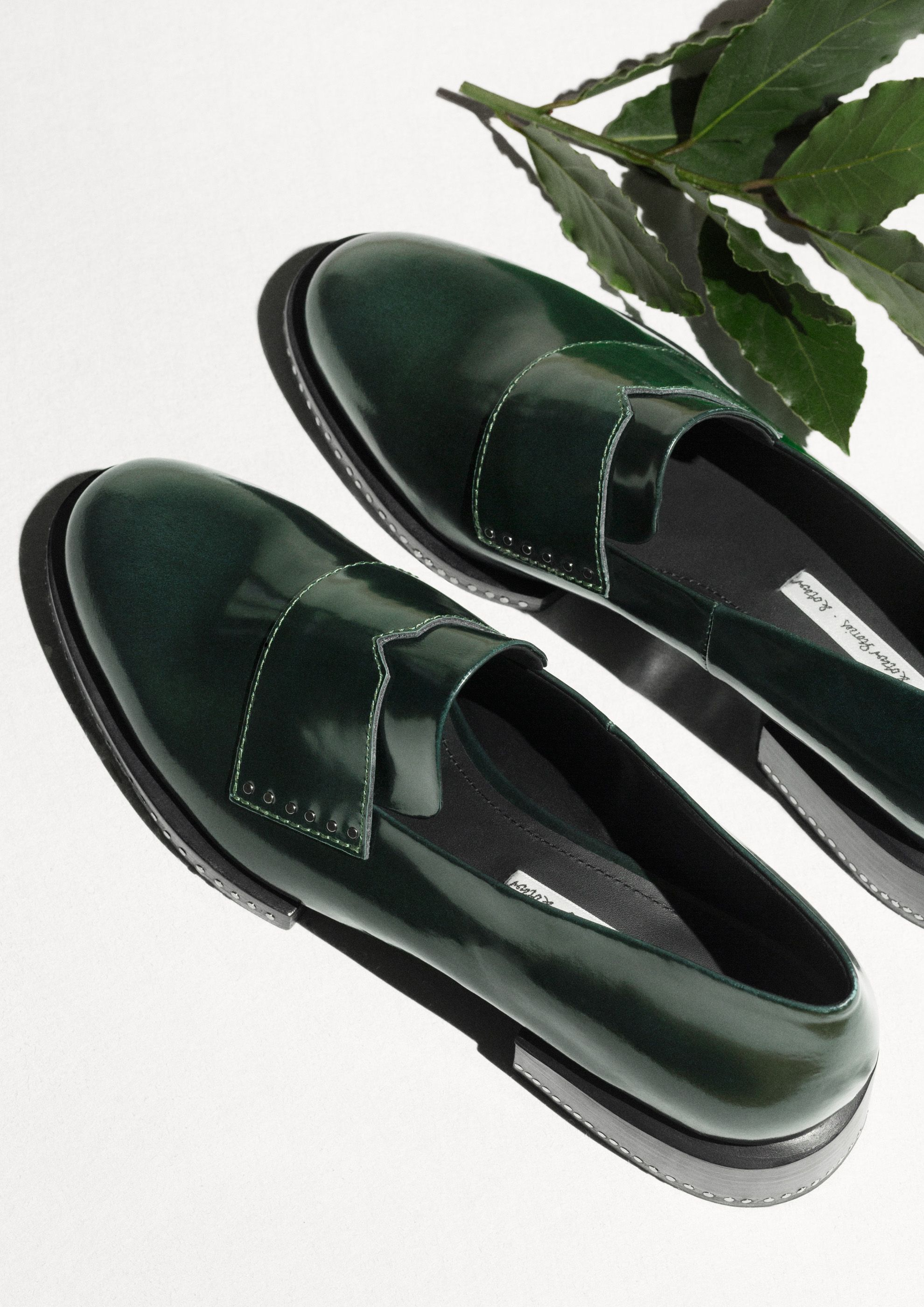 & Other Stories   Stud Leather Loafers.