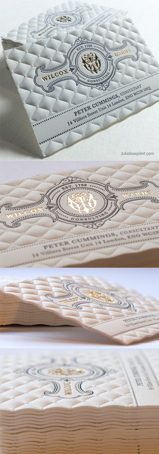 Amazing Highly Textured Letterpress And Gold Foil Business Card Produced By Jukeboxprint Foil Business Cards Gold Foil Business Cards Business Cards Creative