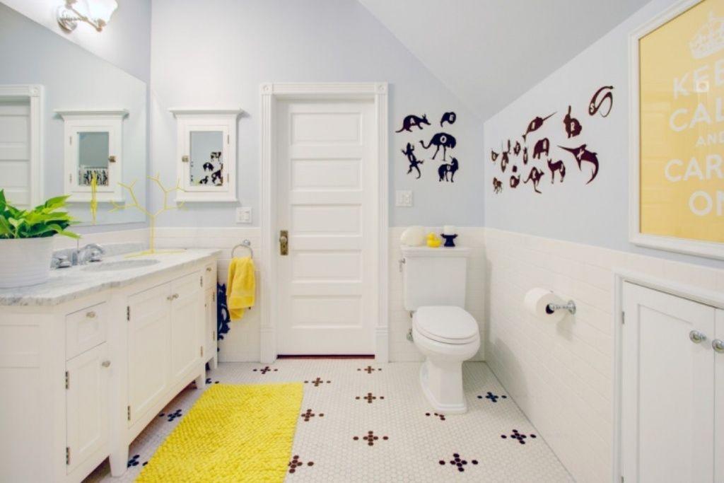 Bequeme Und Coole Badezimmer Ideen Mit Chic Gelb Bad Teppich Und