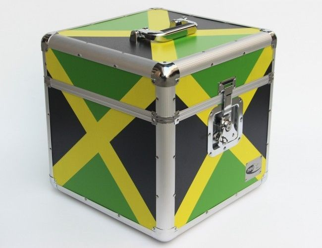Zilla Lp100 12 034 Vinyl Record Box Storage Flight Case Aluminium Jamaica Flag Prin Vinyl Record Box Record Boxes Storage Boxes