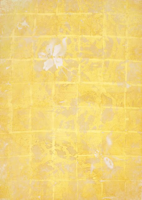 Columbine Silk (gold), mineral pigment and gold leaf on paper, 35 x 25 inches by Makoto Fujimura