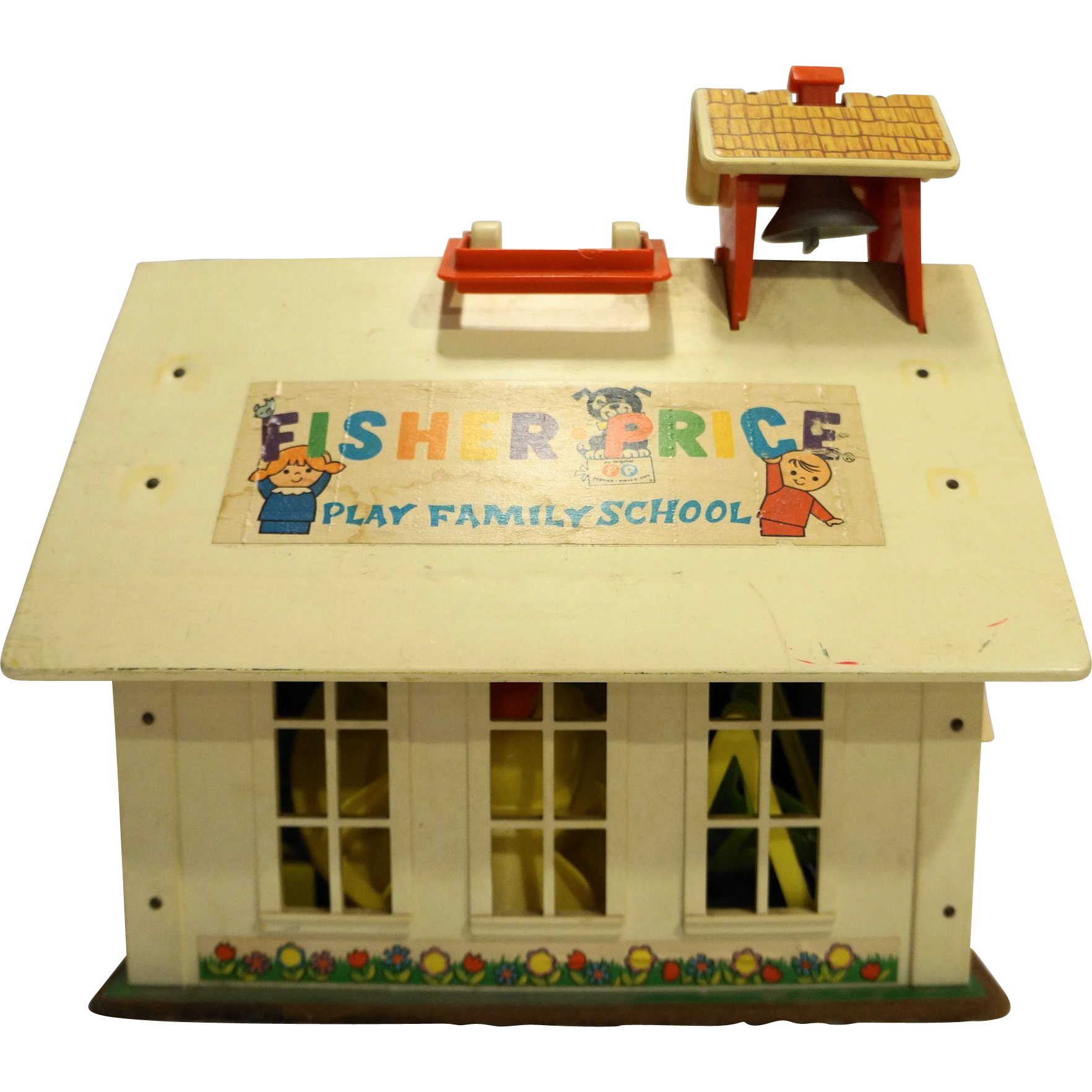 Fisher Price 1971 School House People Desks Playground Equipment Set Vintage Old Toys Playground Homeschool