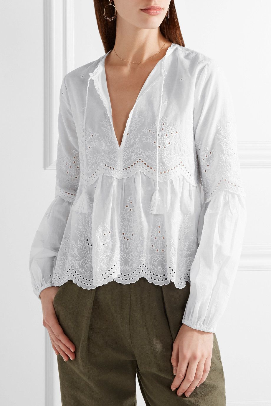 c38fbbddb3bb18 Ulla Johnson | Lucie scalloped broderie anglaise cotton blouse |  NET-A-PORTER.COM
